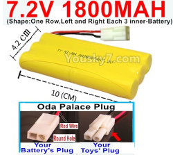 7.2V 1800MAH NI-MH Battery AA-With Oda Palace Plug(Round hole-Red Wire)-(Shape-One Row,Left and Right Each 3 inner-Battery)
