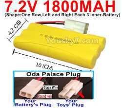 7.2V 1800MAH NI-MH Battery AA-With Oda Palace Plug(Round hole-Black Wire)-(Shape-One Row,Left and Right Each 3 inner-Battery)