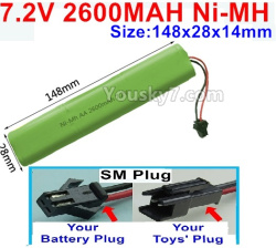 7.2V 2600MAH Ni-MH NI-MH Battery AA-With SM Plug-Size-148X28mmx14mm