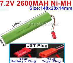 7.2V 2600MAH Ni-MH NI-MH Battery AA-With JST Plug-Size-148X28mmx14mm