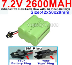 7.2V 2600MAH NI-MH Battery AA-With SM Plug-(Shape-Two Row.Each Row with 3X Inner-Battery)-Size-42x50x29mm