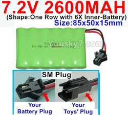 7.2V 2600MAH NI-MH Battery AA-With SM Plug-(Shape-One Row with 6X Inner-Battery)-Size-85x50x15mm