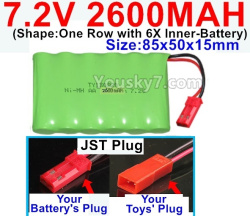 7.2V 2600MAH NI-MH Battery AA-With JST Plug-(Shape-One Row with 6X Inner-Battery)-Size-85x50x15mm