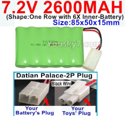 7.2V 2600MAH NI-MH Battery AA-With Datian Palace-2P Plug(The D-Shape hole is Black wire)-(Shape-One Row with 6X Inner-Battery)-Size-85x50x15mm