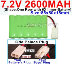 7.2V 2600MAH NI-MH Battery AA-With Oda Palace Plug(Round hole-Black Wire)-(Shape-One Row with 6X Inner-Battery)-Size-85x50x15mm