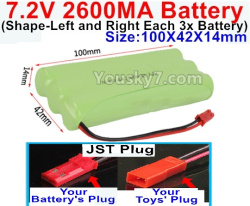 7.2V 2600MAH NI-MH Battery AA-With JST Plug(The D-Shape hole is Black wire)-(Shape-Left and Right Each 3x Battery)-Size-100X42X14mm