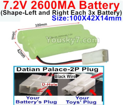 7.2V 2600MAH NI-MH Battery AA-With Datian Palace-2P Plug(The D-Shape hole is Black wire)-(Shape-Left and Right Each 3x Battery)-Size-100X42X14mm
