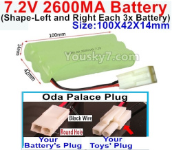 7.2V 2600MAH NI-MH Battery AA-With Oda Palace Plug(Round hole-Black Wire)-(Shape-Left and Right Each 3x Battery)-Size-100X42X14mm