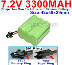 7.2V 3300MAH Battery-With SM Plug-(Shape-Two Row.Each Row with 3X Inner-Battery)-Size-42x50x29mm