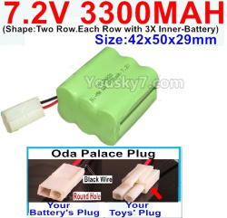 7.2V 3300MAH Battery-With Oda Palace Plug(Round hole-Black Wire)-(Shape-Two Row.Each Row with 3X Inner-Battery)-Size-42x50x29mm