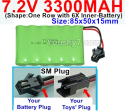 7.2V 3300MAH Battery-With SM Plug-(Shape-One Row with 6X Inner-Battery)-Size-85x50x15mm