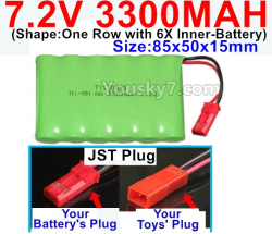 7.2V 3300MAH Battery-With JST Plug-(Shape-One Row with 6X Inner-Battery)-Size-85x50x15mm
