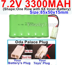7.2V 3300MAH Battery-With Oda Palace Plug(Round hole-Red Wire)-(Shape-One Row with 6X Inner-Battery)-Size-85x50x15mm