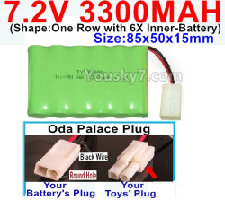 7.2V 3300MAH Battery-With Oda Palace Plug(Round hole-Black Wire)-(Shape-One Row with 6X Inner-Battery)-Size-85x50x15mm
