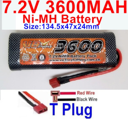 7.2V 3600mah NI-MH Battery AA-With T Plug-Horizontal-Red wire,Vertical-Black Wire-Size-134.5x47x24mm