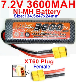 7.2V 3600mah NI-MH Battery AA-With XT60 Plug-Female Plug-Size-134.5x47x24mm