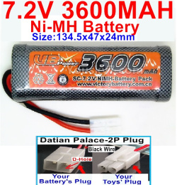 7.2V 3600mah NI-MH Battery AA-With Datian Palace-2P Plug(The D-Shape hole is Black wire)-Size-134.5x47x24mm
