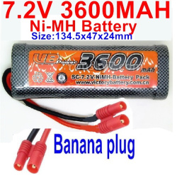 7.2V 3600mah NI-MH Battery AA-With Banana Plug-Size-134.5x47x24mm