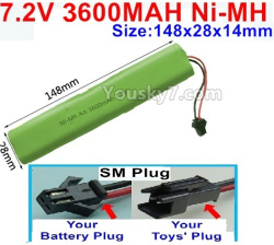 7.2V 3600MAH NI-MH Battery AA-With SM Plug-Size-148X28mmx14mm