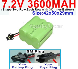 7.2V 3600MAH Battery-With SM Plug-(Shape-Two Row.Each Row with 3X Inner-Battery)-Size-42x50x29mm