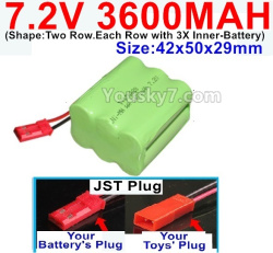 7.2V 3600MAH Battery-With JST Plug-(Shape-Two Row.Each Row with 3X Inner-Battery)-Size-42x50x29mm