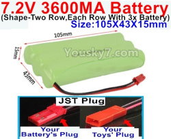 7.2V 3600MAH NI-MH Battery AA-With JST Plug(The D-Shape hole is Black wire)-(Shape-Left and Right Each 3x Battery)-Size-105X43X15mm