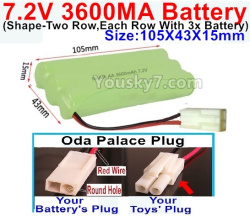 7.2V 3600MAH NI-MH Battery AA-With Oda Palace Plug(Round hole-Red Wire)-(Shape-Left and Right Each 3x Battery)-Size-105X43X15mm