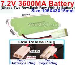 7.2V 3600MAH NI-MH Battery AA-With Oda Palace Plug(Round hole-Black Wire)-(Shape-Left and Right Each 3x Battery)-Size-105X43X15mm