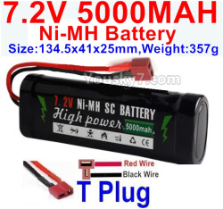 7.2V 5000mah NI-MH Battery AA-With T Plug-Horizontal-Red wire,Vertical-Black Wire-Size-134.5x41x25mm-Weight-357g
