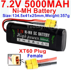 7.2V 5000mah NI-MH Battery AA-With XT60 Plug-Female Plug-Size-134.5x41x25mm-Weight-357g