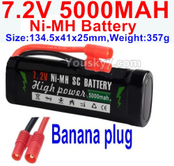 7.2V 5000mah NI-MH Battery AA-With Banana Plug-Size-134.5x41x25mm-Weight-357g