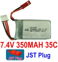 7.4V Battery 01-01 7.4V 350mah 35C Battery with Red JST Plug-452540