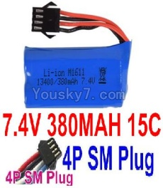 7.4V Battery 02-01 7.4V 380mah 15C Battery with Black 4P SM pLUG-13400