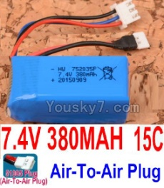 7.4V Battery 02-02 7.4V 380mah 15C Battery with 51005 White Air-To-Air Plug-752035