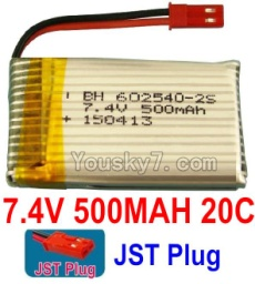 7.4V Battery 03-01 7.4V 500mah 20C Battery with Red JST Plug-602540