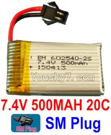 7.4V Battery 03-02 7.4V 500mah 20C Battery with Black 2P SM Plug-602540