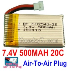 7.4V Battery 03-03 7.4V 500mah 20C Battery with 51005 White Air-To-Air Plug-602540