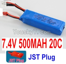 7.4V Battery 04-04 7.4V 500mah 20C Battery with Red JST Plug-721855
