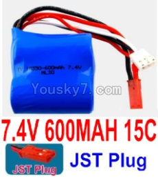 7.4V Battery 05-01 7.4V 600mah 15C Battery with Red JST Plug-18350