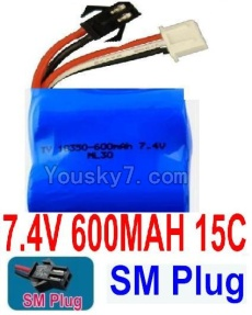 7.4V Battery 05-02 7.4V 600mah 15C Battery with Black 2P SM Plug-18350