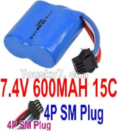 7.4V Battery 05-03 7.4V 600mah 15C Battery with 4P SM Plug-18350