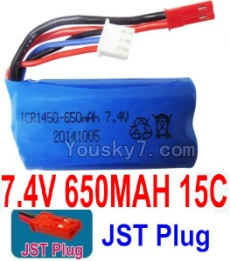 7.4V Battery 06-01 7.4V 650mah 15C Battery with Red JST Plug-14500