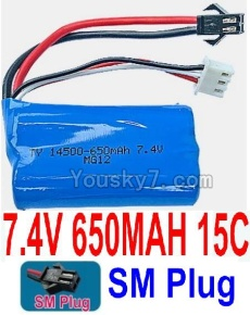 7.4V Battery 06-02 7.4V 650mah 15C Battery with Black 2P SM Plug-14500
