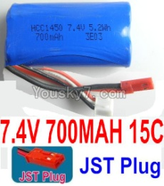 7.4V Battery 07-01 7.4V 700MAH Battery With Red JST Plug-1450,14500