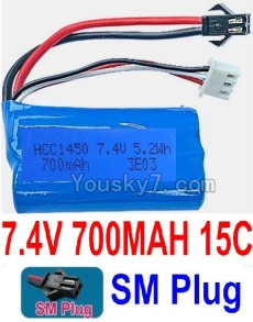 7.4V Battery 07-02 7.4V 700mah 15C Battery with Black 2P SM Plug-1450,14500
