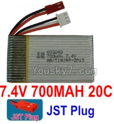 7.4V Battery 08-01 7.4V 700MAH Battery With Red JST Plug-603048