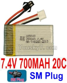 7.4V Battery 08-02 7.4V 700MAH Battery With Black SM Plug-603048