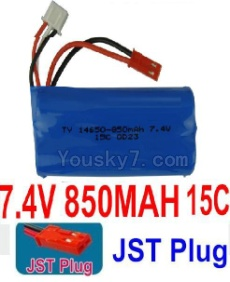 7.4V Battery 08-11 7.4V 850MAH 15C Battery With Red JST Plug-14650