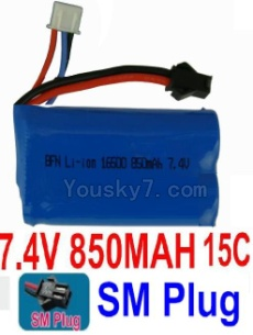 7.4V Battery 08-12 7.4V 850MAH 15C Battery With Black SM Plug-14650