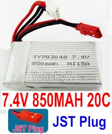 7.4V Battery 09-01 7.4V 850mah 20C Battery with Red JST Plug-703048
